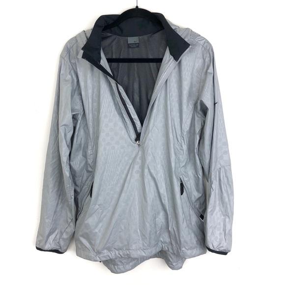 Nike Full Zip Windbreaker Jacket Lined Hood Detach